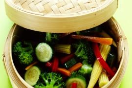 Vegetables in vegetable steamer
